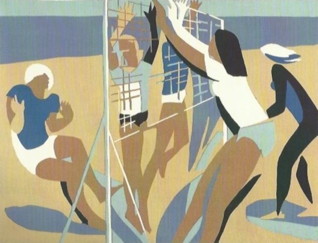 «Волейбол». 1978. Цветная линогравюра с одной доски. 46х60